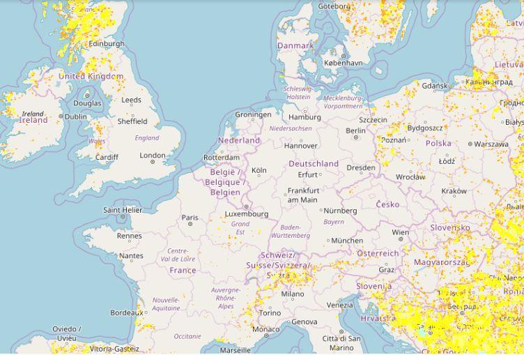 mapa bezdroży w Europie